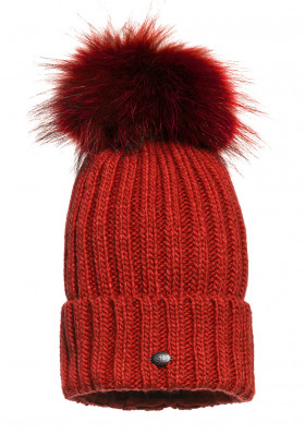 Dámska čiapka Goldbergh Naara Beanie (real Fur Raccoon) Red