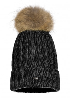Dámska čiapka Goldbergh NELLA beanie real raccoon fur Black