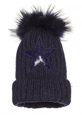 Dámska čiapka Goldbergh STARS beanie real raccoon fur DARK NAVY