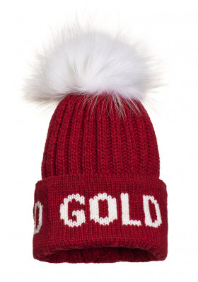 Dámska čiapka Goldbergh HODD beanie real raccoon fur RUBY RED